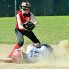 WARREN DILLAWAY / Star Beacon<br /> MICHAELLA NOTTE of Conneaut slides safely into second base as Alexis Schifer of Bucyrus grabs a late throw on Saturday during major league all-star action at the Little League State Tournament at Cederquist Park in Ashtabula.