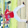 WARREN DILLAWAY / Star Beacon<br /> BRAYDON THROOP of Jefferson pitches on Monday during minor league all-star action against Grand Valley at Havens Complex.