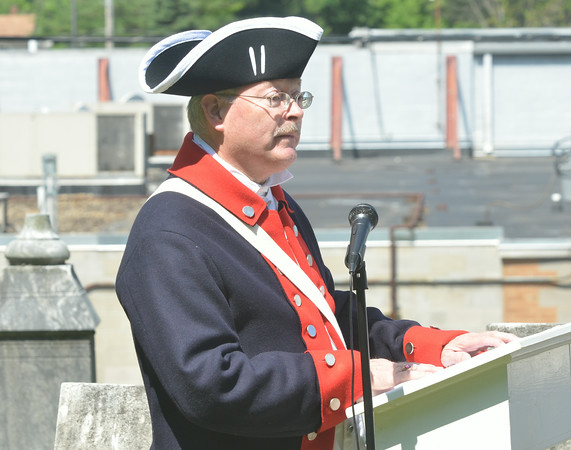 WARREN DILLAWAY / Star Beacon<br /> JIM PILDNER, past presidnet of the Northeast Ohio Sons of the American Revolution, was the keynote speaker at a Revolution War Soldiers Grave Marking Ceremony at the Andover Congregational Church Cemetery on Friday morning.