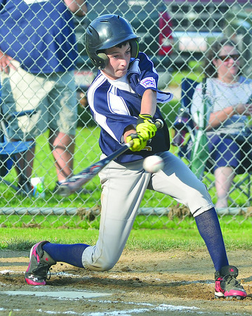 WARREN DILLAWAY / Star Beacon<br /> ALEX BRAINARD of Conneaut prepares to make contact with a pitch on Monday during major league all star action at Skippon Park in Conneaut.