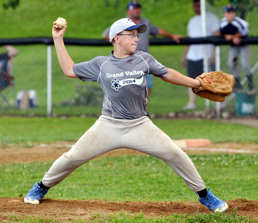 WARREN DILLAWAY / Star Beacon<br /> DAVID NYE of Grand Valley pitches on Monday eveing during during major league all-star action at Skippon Park in Conneaut.