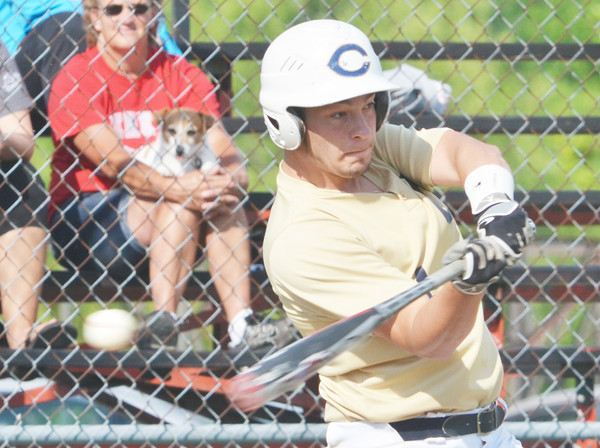 WARREN DILLAWAY / Star Beacon<br /> MIKE TEED of Conneaut takes a mighty swing during the Ashtabula County Senior All Star Game on Monday at Havens Complex in Jefferson Township.