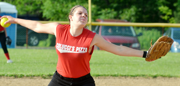 WARREN DILLAWAY / Star Beacon<br /> KATARINA PLOTZ of Colucci's Pizza pitches on Thursday evening during Senior League action at the Jefferson Area Girls Softball Complex.