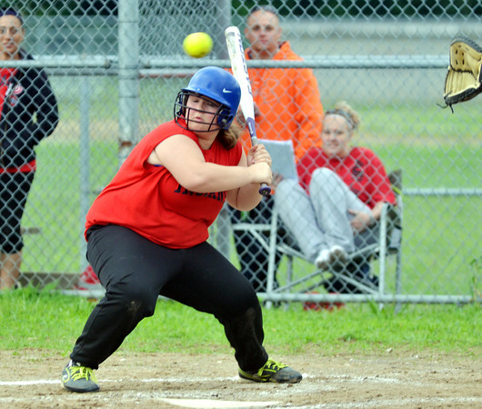 WARREN DILLAWAY / Star Beacon<br /> KAYLEE ZALL of the Ashtabula Indians earns a walk during Junior League action at Cederquist Park in Ashtabula on Friday evening.