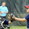 WARREN DILLAWAY / Star Beacon<br /> ALEX TULINO (right), Indians pitcher, is congratulated by catcher Will Walker after the last out of an inning on Friday night during Major League action at Cederquist Park in Ashtabula.