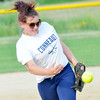 WARREN DILLAWAY / Star Beacon<br /> TARA MYERS of Conneaut pitches on Monday evening during Major League action at Community Park in Orwell.