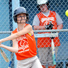 WARREN DILLAWAY / Star Beacon<br /> MEGAN HOPES of the Grand Valley Orange Crush hits a triple on Friday evening during Junior League action at Cederquist Park in Ashtabula.