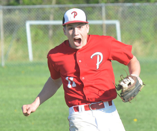 WARREN DILLAWAY / Star Beacon<br /> NICK ADAMIK of Perry celebrates after the Pirates defeated Edgewood during a Division II sectional championship game at Edgewood on Friday.
