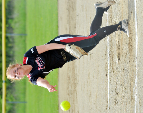 WARREN DILLAWAY / Star Beacon<br /> EMILEY WESTFALL of Perry pitches on Thursday during a Division II district semifinal  at the Jefferson Area Girls Softball Complex.