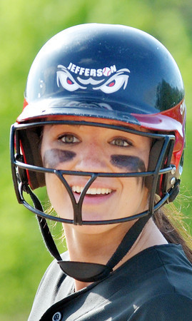 WARREN DILLAWAY / Star Beacon<br /> KAYCEE FUSCO of Jefferson was all smiles after a hit on Thursday during a Division II district semifinal with Notre Dame Cathedral Latin at the Jefferson Area Girls Softball Complex.