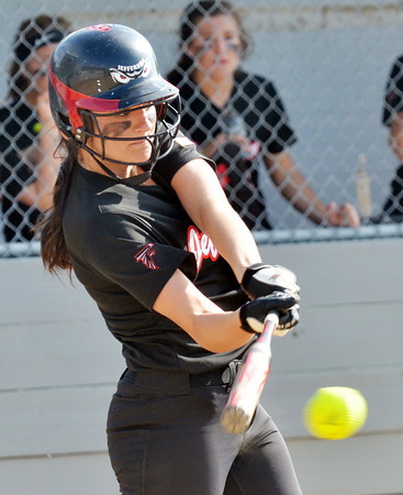 WARREN DILLAWAY / Star Beacon<br /> KAYCEE FUSCO of Jefferson makes on Thursday during a Division II district semifinal with Notre Dame Cathedral Latin at the Jefferson Area Girls Softball Complex.