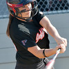 WARREN DILLAWAY / Star Beacon<br /> DEANNA COMP of Jefferson makes contact with a pitch on Thursday during a Division II district semifinal with Notre Dame Cathedral Latin at the Jefferson Area Girls Softball Complex.