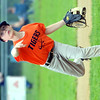 WARREN DILLAWAY / Star Beacon<br /> AIDEN DAVISON of the Conneaut Minor League Tigers pitches on Tuesday evening at Skippon Park.