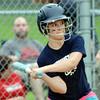 WARREN DILLAWAY / Star Beacon<br /> BELLA ANTHONY of the Conneaut Minor League team keeps her eye on the ball  on Tuesday evening at Skippon Park.