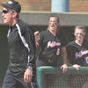 WARREN DILLAWAY / Star Beacon<br /> DON MCCORMACK, Jefferson softball coach, and McKenzie Wilber react after a late game call  during a  Division II regional semi-final at Firestone Stadium in Akron.