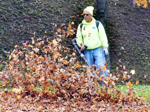 WARREN DILLAWAY / Star Beacon<br /> FRED GARCIA blows leaves at Lake Shore Park in Ashtabula Township.