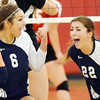WARREN DILLAWAY / Star Beacon<br /> REILLY DEGEORGE (6) celebrates wtih St. John teammate Reilly DeCato during volleyball action at Jefferson on Tuesday evening.