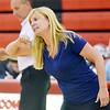 WARREN DILLAWAY / Star Beacon<br /> STEPHANIE KUBEC, St. John volleyball coach, instructs her team on Tuesday evening at Jefferson.