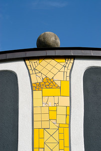 Detail of Facade and Tilework at Rogner Thermal Spa and Hotel Designed by Friedensreich Hundertwasser in Bad Blumau, Austria
