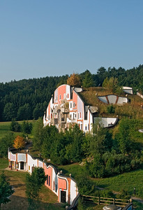 Grass Roof of Steinhaus (Stone house) at Bad Blumau Hot Springs Hotel Village Designed by Architect Friedensreich Hundertwasser, Styria, Austria