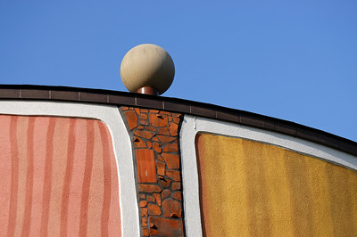 Detail of Colourful Facade of Rogner Thermal Spa and Hotel Designed by Friedensreich Hundertwasser in Bad Blumau, Austria