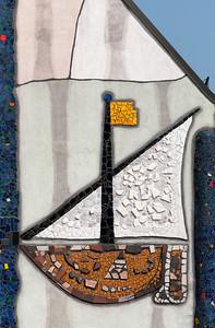 Facade Mosaic, Church of St. Barbara designed by Hundertwasser, Barnbach (Baernbach), Styria, Austria