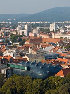 Aerial View of Modern Building of Grazer Kunsthaus (Graz Art Museum) from Schlossberg Hill, Styria, Austria