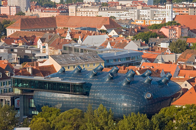 View of Graz Art Museum from Schlossberg, Austria