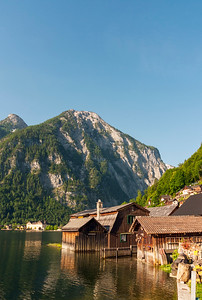 Wooden Houses with Mountains in Background, Hallstattersee Lake, Hallstatt, Upper Austria
