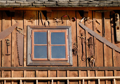 Decoration of Wooden House in Hallstatt, Salzkammergut, Upper Austria