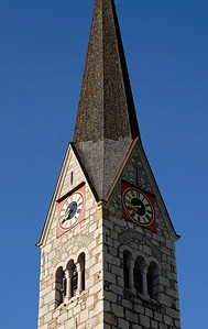 Clock Tower of Hallstatt Protestant Church, Austria