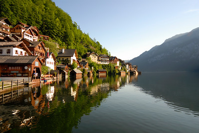 Houses in Village of Hallstatt by Hallstattersee Lake in Hallstatt-Dachstein-Salzkammergut World Cultural Heritage Landscape Area, Upper Austria