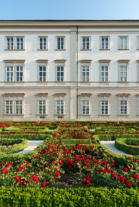 Rose Gardens at Baroque Mirabell Palace in Salzburg, Austria