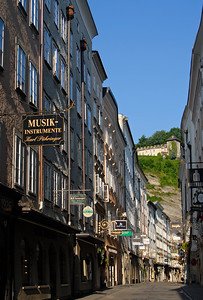Getreidegasse - Elegant Shopping Street in the Historic Centre of Salzburg, Austria.