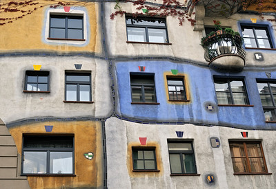 Colorful Hundertwasser House in Vienna (Wien), Austria