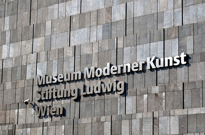 Facade with Sign, Museum of Modern Art, MuseumsQuartier in Vienn