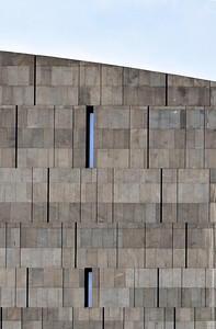 Detail of Basalt-lava Stone Facade of MUMOK (Museum Moderner Kunst or Museum of Modern Art) Builidng at MuseumsQuartier in Vienna (Wien), Austria