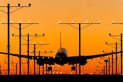 Landing lights / LAX airport, USA