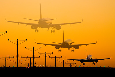 Landing sequence / LAX airport, USA