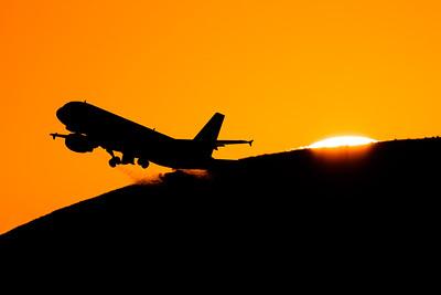 Sunset takeoff / Barcelona airport, Spain
