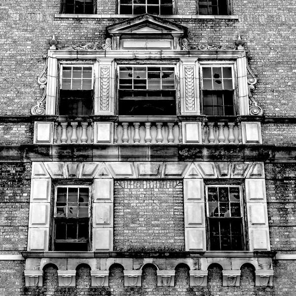Baker Hotel, back side windows, N side of hotel, Mineral Wells, TX (Oct 2014, HDR)