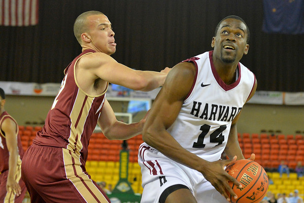 November 28, 2013: Harvard Crimson forward Steve Moundou-Missi (14) looks to get to the basket in a first round game at the 2013 Great Alaska Shootout between Harvard and Denver.  Harvard defeated Denver 68-60. Harvard defeated Denver 68-60.