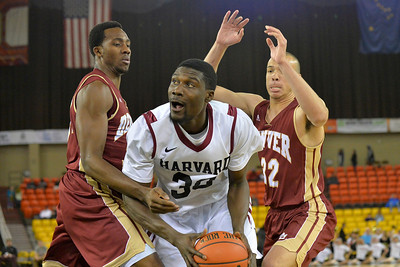 November 28, 2013: Harvard Crimson forward Kyle Casey (30) looks to get to the basket in a first round game at the 2013 Great Alaska Shootout between Harvard and Denver.  Harvard defeated Denver 68-60. Harvard defeated Denver 68-60.