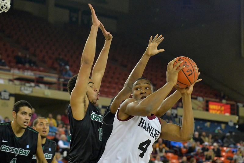 November 29, 2013: Harvard Crimson forward Zena Edosomwan (4) looks to make a move to the basket in a semifinal game at the 2013 Great Alaska Shootout between Harvard and Green Bay. Harvard defeated Green Bay 76-64.