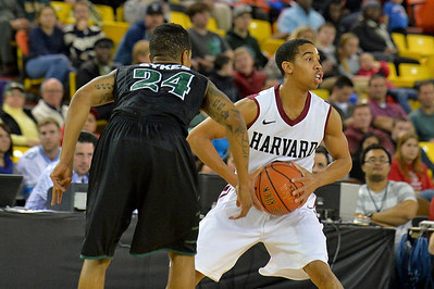November 29, 2013: Harvard Crimson guard Siyani Chambers (1) looks to pass in a semifinal game at the 2013 Great Alaska Shootout between Harvard and Green Bay. Harvard defeated Green Bay 76-64.