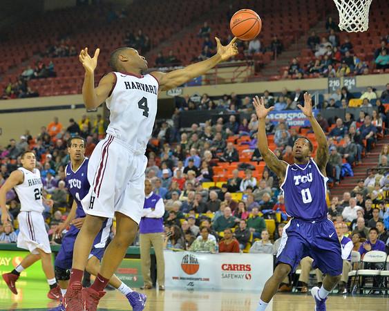 November 30, 2013: Harvard Crimson forward Zena Edosomwan (4) tries to grab an errant pass in the championship game of the 2013 Great Alaska Shootout between Harvard and TCU. Harvard defeated TCU 71-50.