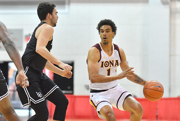 LAS VEGAS, NV - NOVEMBER 19:  Isaiah Still #1 of the Iona Gaels dribbles against the Long Beach State 49ers during their middleweight bracket semifinal game of the MGM Resorts Main Event at Cox Pavilion in Las Vegas, Nevada.  (Photo by Sam Wasson for Iona Athletics)