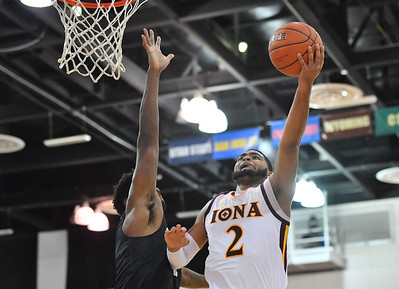 LAS VEGAS, NV - NOVEMBER 19:  E.J. Crawford #2 of the Iona Gaels shoots against the Long Beach State 49ers during their middleweight bracket semifinal game of the MGM Resorts Main Event at Cox Pavilion in Las Vegas, Nevada.  (Photo by Sam Wasson for Utah Valley Athletics)
