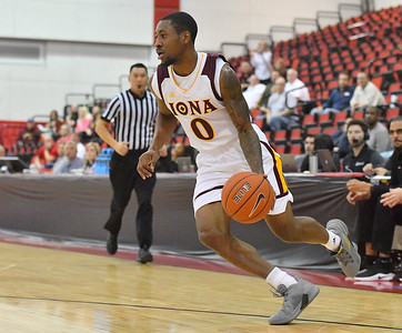 LAS VEGAS, NV - NOVEMBER 19:  Rickey McGill #0 of the Iona Gaels dribbles against the Long Beach State 49ers during their middleweight bracket semifinal game of the MGM Resorts Main Event at Cox Pavilion in Las Vegas, Nevada.  (Photo by Sam Wasson for Iona Athletics)