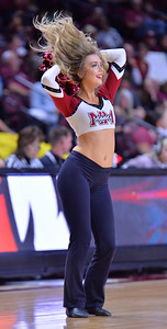 LAS VEGAS, NV - MARCH 08:  A New Mexico State Aggies Sundancer performs during the team's game against the Chicago State Cougars during a quarterfinal game of the Western Athletic Conference basketball tournament at the Orleans Arena in Las Vegas, Nevada. The Aggies won 97-70.